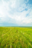 Ulagai steppe with Iron fences Stock Photo