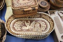 Ulan-Ude, Buryatia, Rusland 04 22 2019 Tentoonstelling en verkoop van Markt van de Herinneringenambachten van Rus en van Buryat d royalty-vrije stock afbeelding