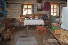 Ulan-Ude, Buryatia, Russia ,April 12, 2014. Ethnographic Museum of the peoples of Transbaikalia. The interior of an old wooden house of a Russian peasant of the royalty free stock photography