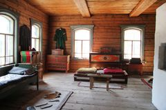 Ulan-Ude, Buryatia, Russia ,April 12, 2014. Ethnographic Museum of the peoples of Transbaikalia. The interior of an old wooden house of a Russian peasant of the royalty free stock images