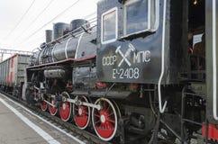 Ulan-Ude, RÚSSIA - julho, 16 2014: Série velha do Ea da locomotiva de vapor do vintage na plataforma da estação de Ulan-Ude, Rúss Imagens de Stock Royalty Free
