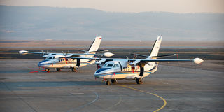 Ulan-Ude, Russia - April 22, 2014: New white Let 410 airplane parked at the airport Baikal.  stock images