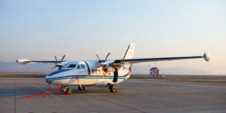 Ulan-Ude, Russia - April 22, 2014: New white Let 410 airplane parked at the airport Baikal.  royalty free stock images