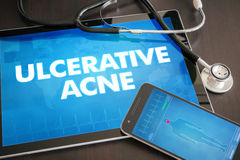 Ulcerative acne (cutaneous disease) diagnosis medical concept on. Tablet screen with stethoscope vector illustration