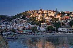 Ulcinj en la puesta del sol, Montenegro Foto de archivo