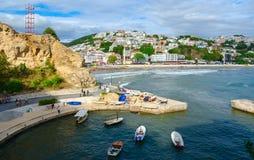 Top view on promenade and beach in popular resort town of Ulcinj, Montenegro royalty free stock photo