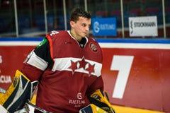 Uldis Calpa po Euro Hokejowej wyzwanie gry między drużynowym Latvia Szwajcaria i drużyną, Zdjęcia Stock