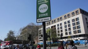 ULEZ London, UK - April 9 2019: ULEZ Ultra low emission zone new charge London prepare for new Ultra Low Emission Zone ULEZ stock video