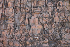 Ulga na ścianie w Borobudur Buddyjskiej świątyni Zdjęcie Stock