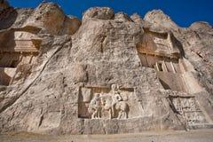 Ulga rzeźbił między 239, 70 reklamą o triumfie Perskie władcy - Fotografia Royalty Free