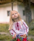 Little ukrainian girl watching magpie. Little ukrainian girl is watching for the rainbow Stock Images
