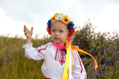 little ukrainian girl in circlet of flowers Stock Photography