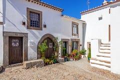 Ulica Średniowieczny podgrodzie Castelo De Vide (Burgo Średniowieczny) Zdjęcia Royalty Free