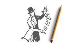 Ulica, czarownik, magia, występ, fury pojęcie Ręka rysujący odosobniony wektor royalty ilustracja