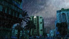Ulica dalej modren stronę w starym Jeddah i ulewnym deszczu zbiory