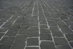 Ulica deseniowego brukowa perspektywiczny widok Obraz Royalty Free