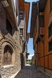 Ulica i domy od okresu Bułgarski odrodzenie w starym miasteczku miasto Plovdiv, Bułgaria obraz royalty free