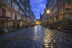Ulica Mariacka, Gdansk, Poland. The beautiful and famous Mariacka street at in the early morning hours, before it is filled with amber, silver and tourists Royalty Free Stock Images