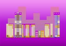 Ulica miasteczko na błękitnym backgtround ilustracji