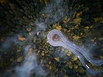 Ulica od above synkliny mglisty las przy jesienią, widok z lotu ptaka lataniem przez chmur z mgłą i drzewami, Zdjęcia Stock