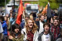 Ulica protest Zdjęcia Royalty Free