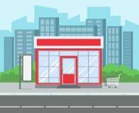 Ulica sklep Retro sklepu spożywczego domu supermarketa miasta zewnętrzna ulica Robić zakupy detalicznego budynek przy drogowym kr ilustracja wektor