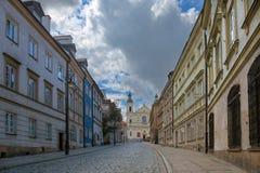 Ulica stary miasteczko w Warszawa Obrazy Royalty Free