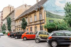 Ulica w Żydowskiej ćwiartce w Budapest Fotografia Stock