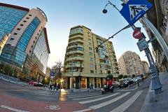 Ulica w Bucharest Fisheye strzale Obrazy Royalty Free