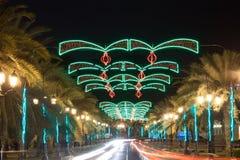Ulica w muszkacie dekorującym z światłami Zdjęcia Stock
