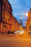 Ulica w nocy mieście frankfurt magistrala Germany Zdjęcie Stock