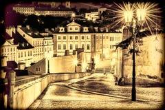 Ulica w Praga w świetle lampionów Rocznika widok Zdjęcia Royalty Free