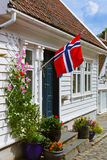 Ulica w starym centre Stavanger, Norwegia - Obrazy Stock