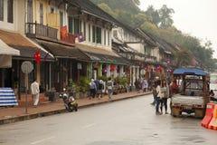 Ulica w starym grodzkim Luang Prabang Zdjęcie Stock