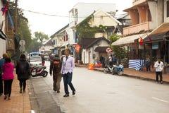 Ulica w starym grodzkim Luang Prabang Zdjęcia Royalty Free