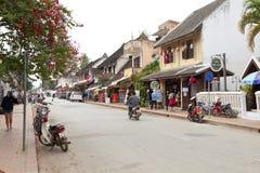 Ulica w starym grodzkim Luang Prabang Zdjęcie Royalty Free