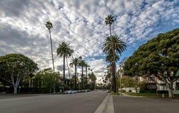 Ulica z drzewkami palmowymi w Beverly Hills, Los Angeles -, Kalifornia, usa Obraz Royalty Free