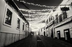 Ulica z historycznymi domami, Szentendre, Węgry, bezbarwny Zdjęcia Stock