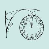 Ulica zegar z tarczą midnight nowy rok Zdjęcia Stock