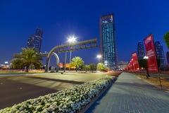 Ulicy Abu Dhabi przy nocą Obrazy Stock