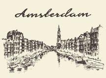 Ulicy Amsterdam wektorowa ilustracja rysujący nakreślenie Obrazy Royalty Free