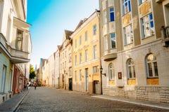 Ulicy I Starej części miasta architektury Estoński kapitał, Tallinn obraz stock