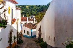 Ulicy Obidos Portugalia Turystyczny miejsce przeznaczenia w Portugalia zdjęcia royalty free