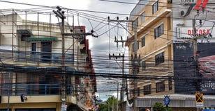 Ulicy Pattaya z ogromną liczbą elektryczni druty Zdjęcia Stock