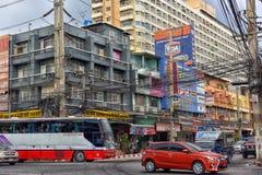 Ulicy Pattaya z ogromną liczbą elektryczni druty Obraz Royalty Free