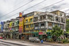Ulicy Pattaya z ogromną liczbą elektryczni druty Obrazy Royalty Free