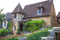 Ulicy Sarlat, średniowieczny miasteczko, Dordogne, Aquitaine, Francja obrazy royalty free