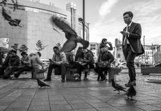 Ulicy Seul smartphone ludzie Zdjęcia Royalty Free
