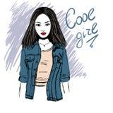 Ulicy stylowa dziewczyna Ilustracji