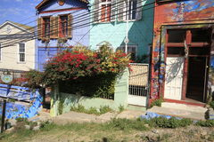 Ulicy Valparaiso, Vina Del Mącący, Chile zdjęcie stock